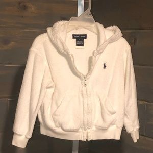 Ralph Lauren White Terry Hooded Jacket, Size 3T